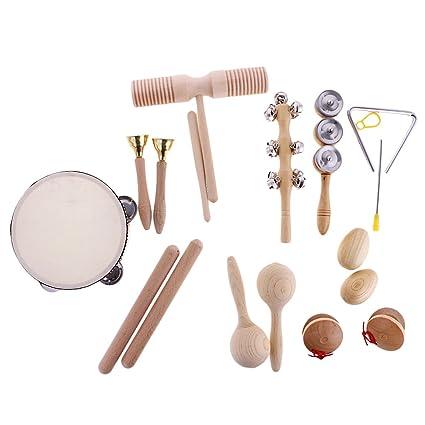 MagiDeal Set de 10 Piezas Juguete de Instrumentos de Percusión Ritmo Handbell de Marioneta Campana de