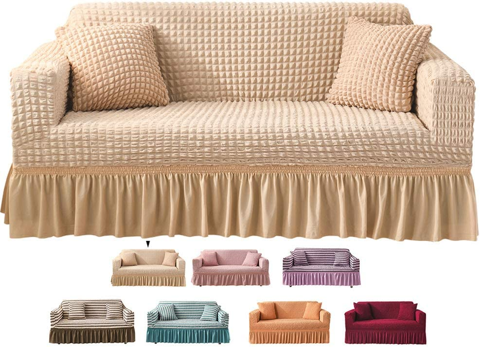 """Stretch Spandex Sofa Slipcovers,Loveseat Couches Covers with Skirt,Non Slip Soft Durable Removable Machine Washable T-Cushion Armchair Furniture Protector Wrap Beige 57"""" to 72"""" arm to arm"""