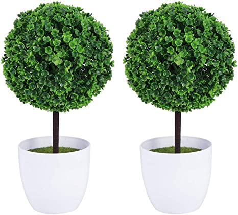 Wakauto 2pcs Artificial Boxwood Balls Outdoor With Planter Artificial Boxwood Topiary Trees Leaf Topiary Ball 23cm Realistic Fake Plant For Home Garden Office Desk Shower Room Decoration Green Kitchen Dining
