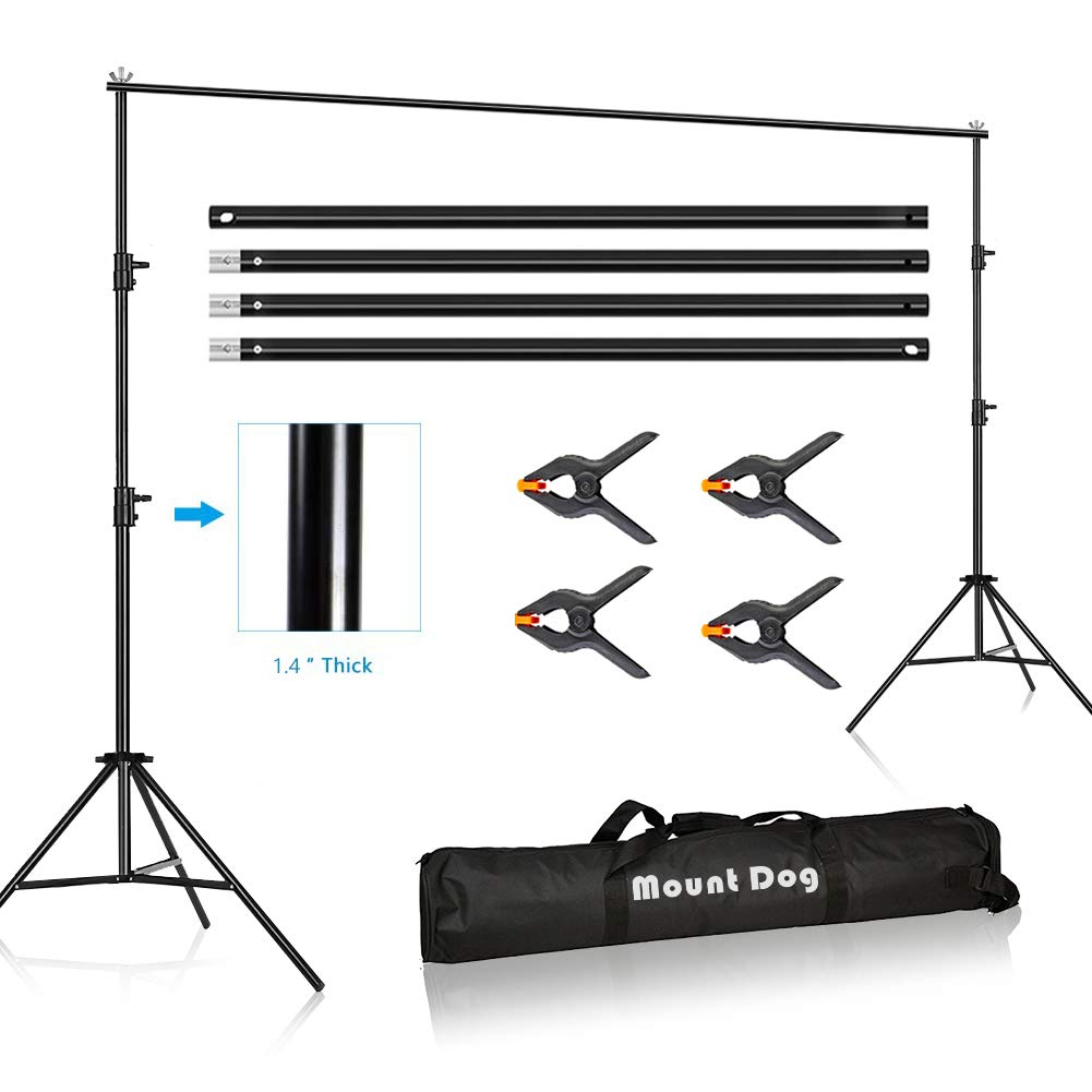 MOUNTDOG 10 x 10ft Photo Video Studio Backdrop Background Stand, Adjustable Heavy Duty Photography Tall Background Telescopic Support System Kit with Carry Bag