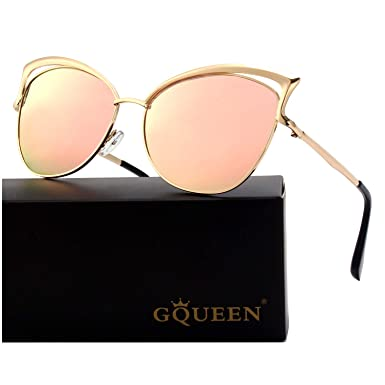 b0e648bc7a GQUEEN Women s Oversized Polarized Metal Frame Mirrored Cat Eye Sunglasses  MT3  Amazon.co.uk  Clothing