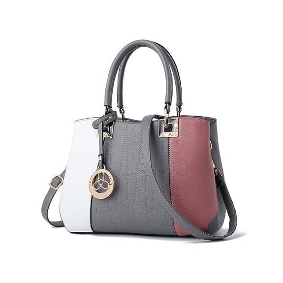 ArtlivingWomen Patchwork PU Leather Shoulder Bags Top-Handle Handbag Crossbody Bag White Grey Pink