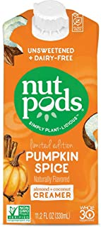 product image for nutpods Pumpkin Spice, (12-Pack), Unsweetened Dairy-Free Creamer, Made from Almonds and Coconuts, Whole30, Gluten Free, Non-GMO, Vegan, Kosher