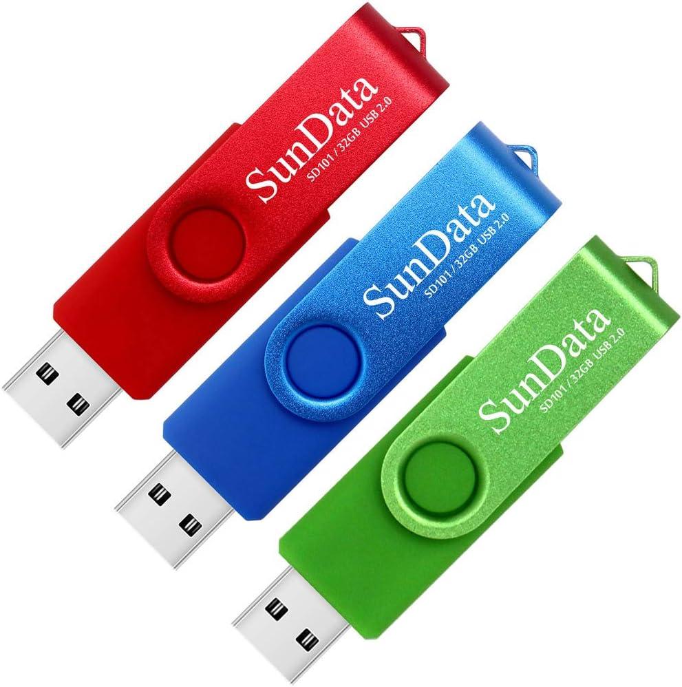 SunData 32GB Memorias USB 3 Piezas PenDrives 32GB Unidad Flash USB2.0 Giratoria Pen Drive con Luz LED (3 Colores: Azul Verde Rojo): Amazon.es: Electrónica
