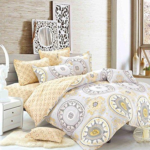 Outgeek 4 Stück Bettwäsche Bettdecken aus Baumwolle Bedspreads für Hotel Home 1.5 1.8 2.0 Meter Multicolor