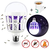 Bug Zapper Light Bulb - 2 in 1 Mosquito Killer Lamp - Powerful Electronic Insect & Fly Killer with Built in Insect Trap - Fits in 110V E26\E27 Light Bulb Socket - Ideal for Indoor\Outdoor\Porch Patio