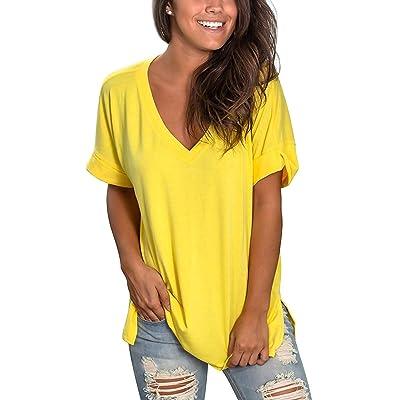 TEENSHOT Camisetas Mujer Manga Corta Cuello V Casual Tops Color Sólido