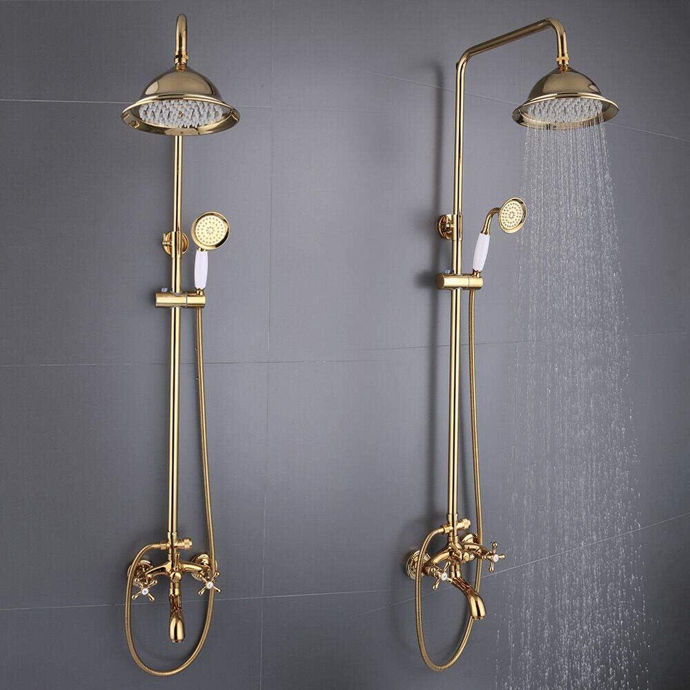 Syst/ème de douche dor/é Colonne de douche /à suspendre au mur Ensemble de douche thermostatique de bonne qualit/é pour salle de bain Robinet mitigeur