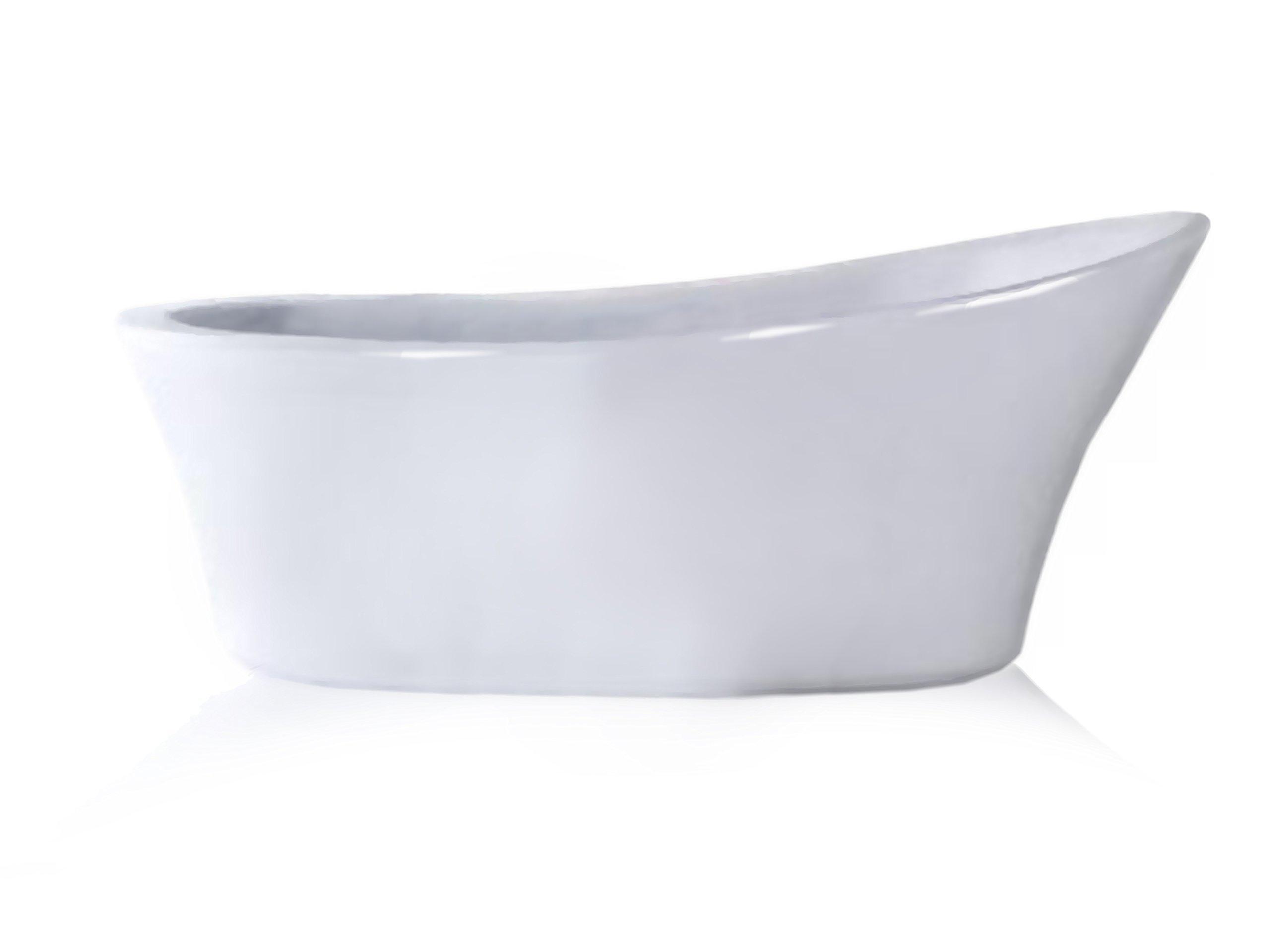 Modetti MIAMI6638G Freestanding Acrylic Bathtub, 65'' L, Glossy White