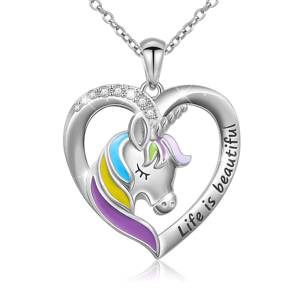 925 Sterling Silver Engraved Life is Beautiful Rainbow Unicorn in Heart Necklace, Rolo Chain 18''