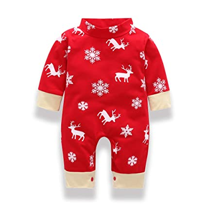 299df94d324d0 comYounger Tree Infant Baby Boy Girl Christmas Romper Long Sleeve Deer Snow  Print Jumpsuit Outfits Clothes | Amazon