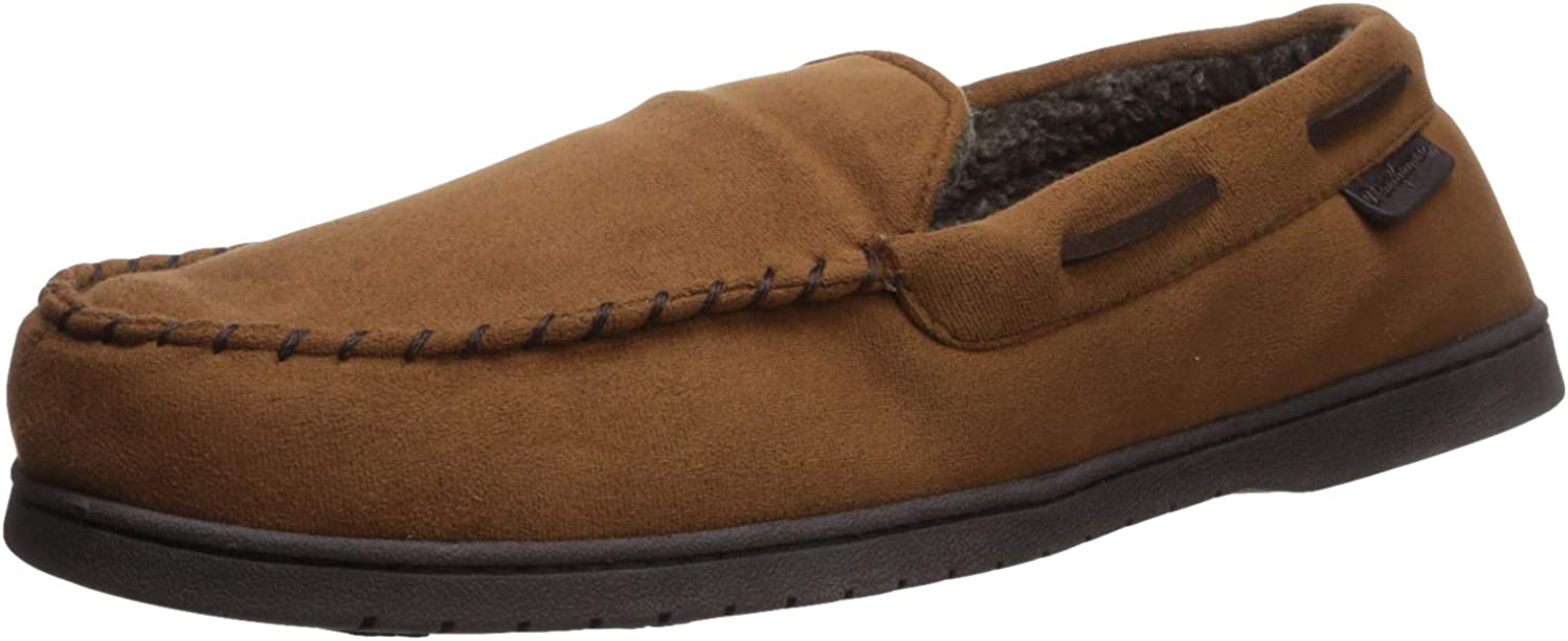 Dearfoams Men's Microsuede Moccasin with Whipstitch Slipper
