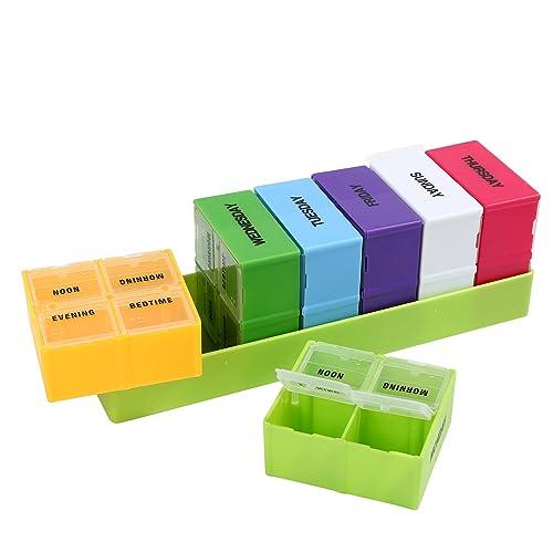 28 compartimentos píldora Organizador Box 7 Day Medicina Storage Case semanal dispensador de medicamentos: Amazon.es: Joyería