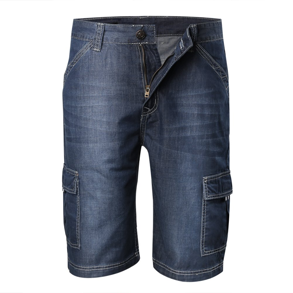 Zicac Mens' Summer Thin Soft Cargo Pockets Denim Trousers Outdoor Lightweight Shorts