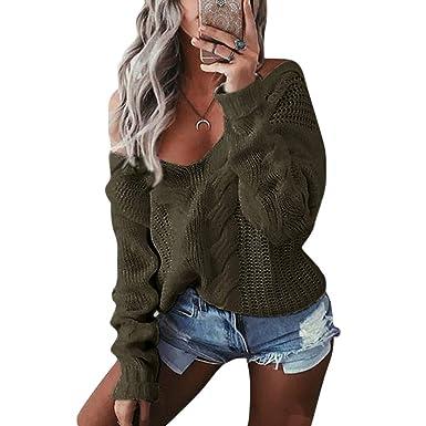 wenyujh Damen Pullover Langarm Sweatshirt Herbst Winter Pulli Tiefer V-Ausschnitt  One Shoulder Einfarbig Loose d2d95cdc58