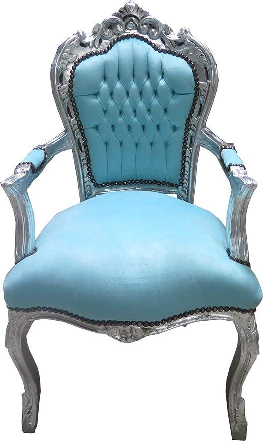 Casa Padrino Barock Esszimmer Stuhl mit Armlehnen TürkisSilber Möbel Antik Stil