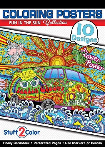 (Fun In The Sun - Premium Coloring Poster Tablet Book (10 Designs))