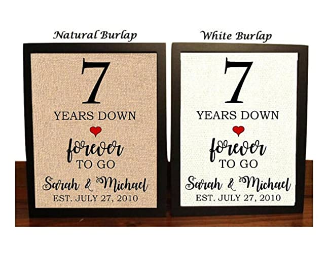 7th Wedding Anniversary.Amazon Com 7th Anniversary Burlap Gift 7th Wedding
