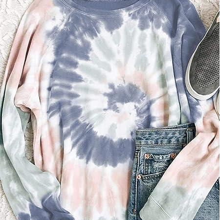 Mujer Sudadera Teñido Pullover Camisa Multicolor Efecto ...