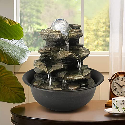 Amazon Com Bbabe Spinning Orb Rock Cascading Tabletop Fountain Zen Meditation Indoor Waterfall Feature With Led Light For Home Office Bedroom Relaxation Home Kitchen