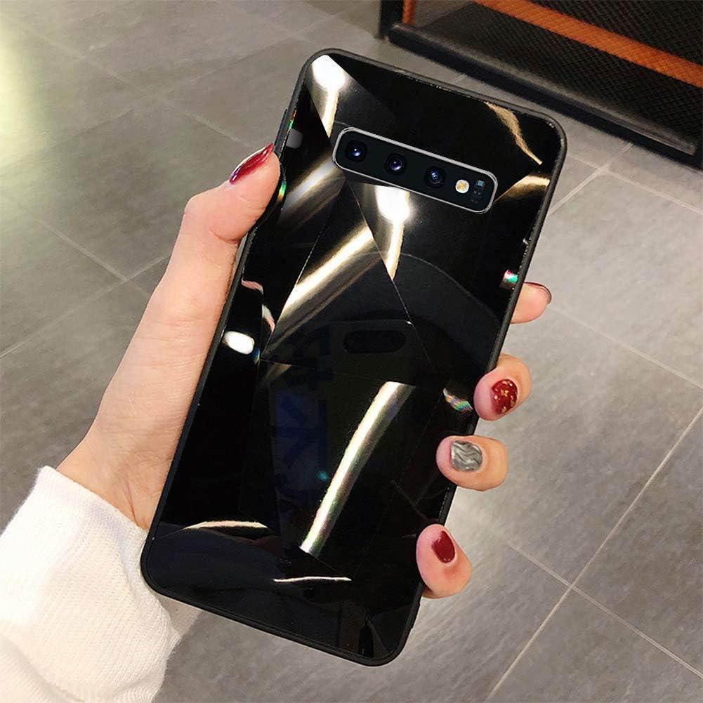 Uposao Compatible con Funda Samsung Galaxy S10e Purpurina Funda,Espejo Glitter Brillante Carcasa con 3D Geométrico Diseño TPU Slim Silicona Carcasa Funda Caso para Galaxy S10e,Negro