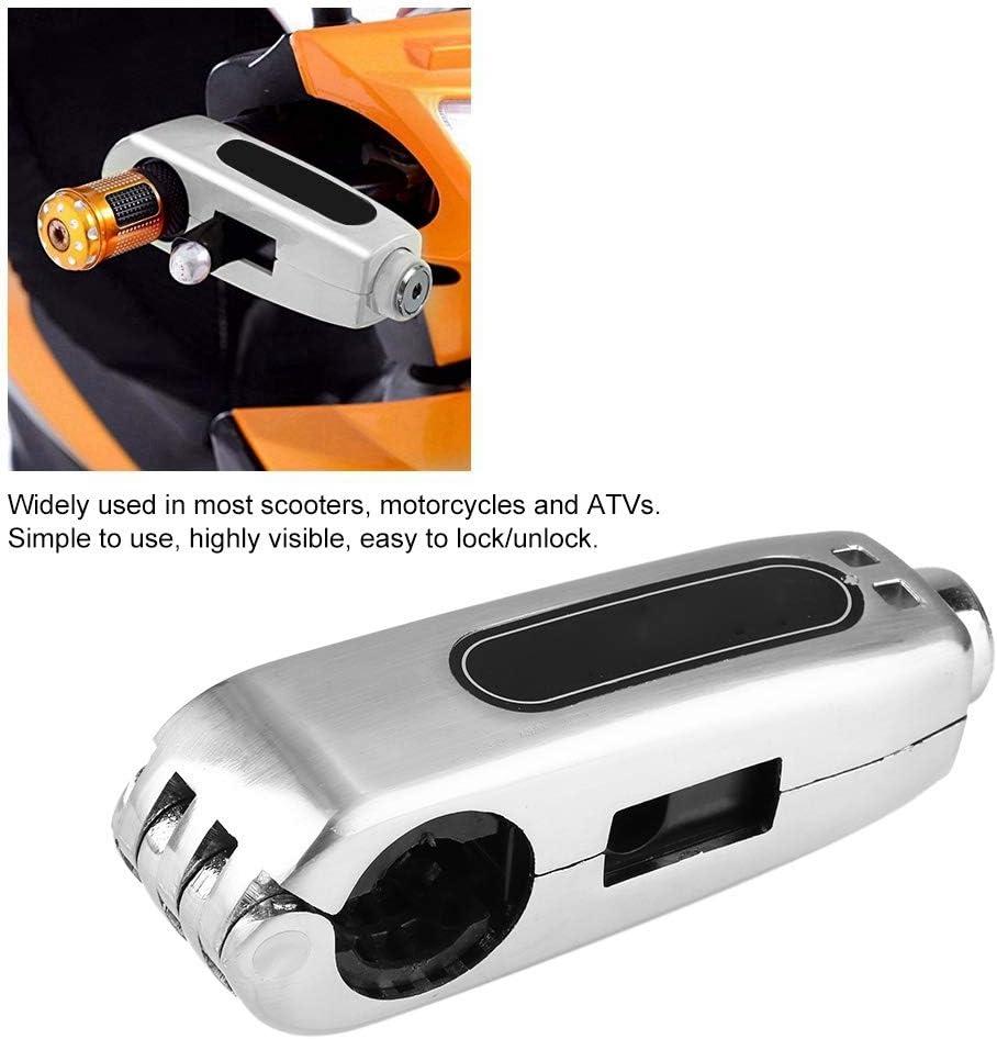Qiilu Brake Lever Lock,Universal Motorcycle Handlebar Brake Lever Lock Throttle Grip Anti Theft Security Lock Silver