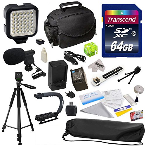 "Advanced Accessory Kit for Canon HF S10 S11 S20 S21 S30 G10 G20 S100 M30 M31 M32 M40 M41 M300 M400 XA10, HF10, HF11, HF20, HF100, HF200, HG20, HG21, HG30, HFS10, HFS11, HFS20, HFS21, HFS30, HFG10, HFG20, HFS100, HFM30, HFM31, HFM32, HFM40, HFM41, HFM300, HFM400 Video Camera Camcorder Includes 64GB High Speed Memory Card + Card Reader + Vivitar 2000 mAh Replacement Battery for Canon BP819 BP-819 + Battery Charger + Deluxe Padded Carrying Case + Professional Photo / Video 60"" Tripod + Professional from 47th Street Photo"