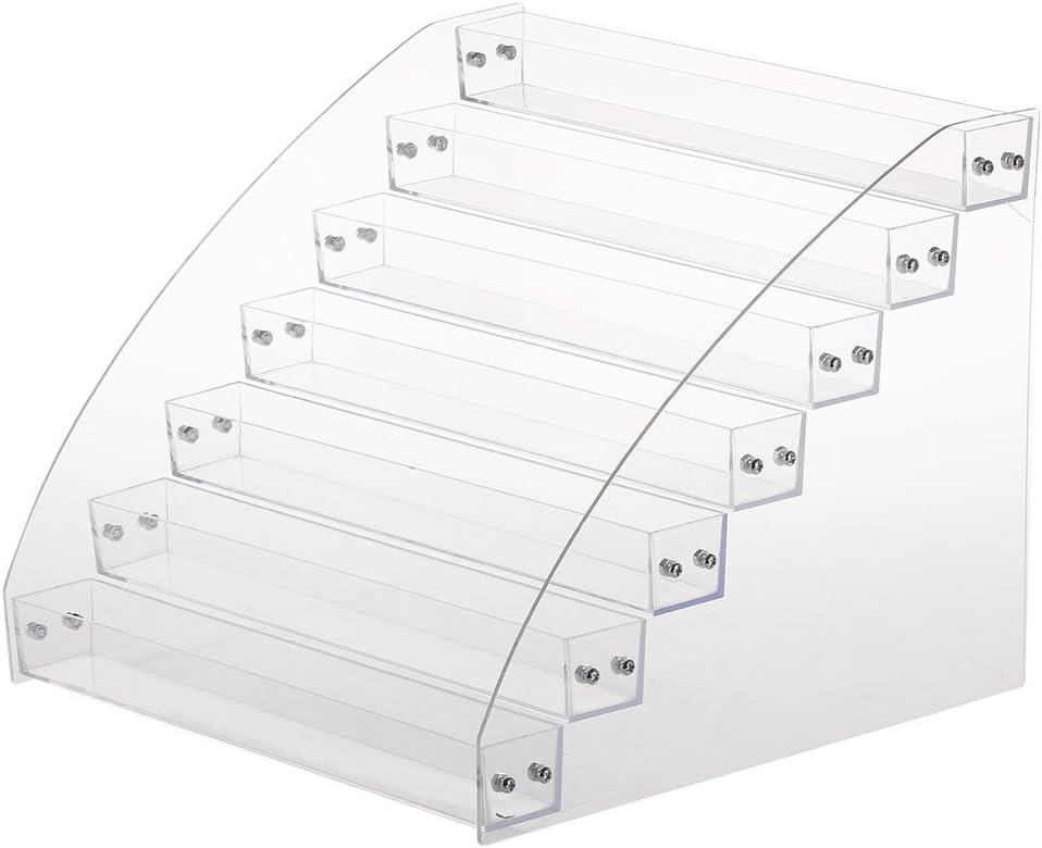Pantalla de esmalte de uñas, 6 tipos Estante para Pantalla de barniz de uñas Cosmético Exhibir Caso de esmalte de uñas duradero acrílico claro soporte de exhibición(Seven Layers)