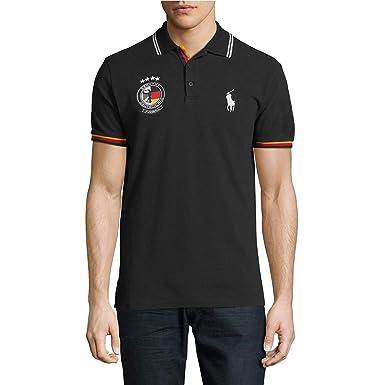 fcbf2486 Polo Ralph Lauren Mens Big Pony Country Custom Fit Mesh Polo Shirt (Medium,  Germany Black/Red/Yellow) at Amazon Men's Clothing store: