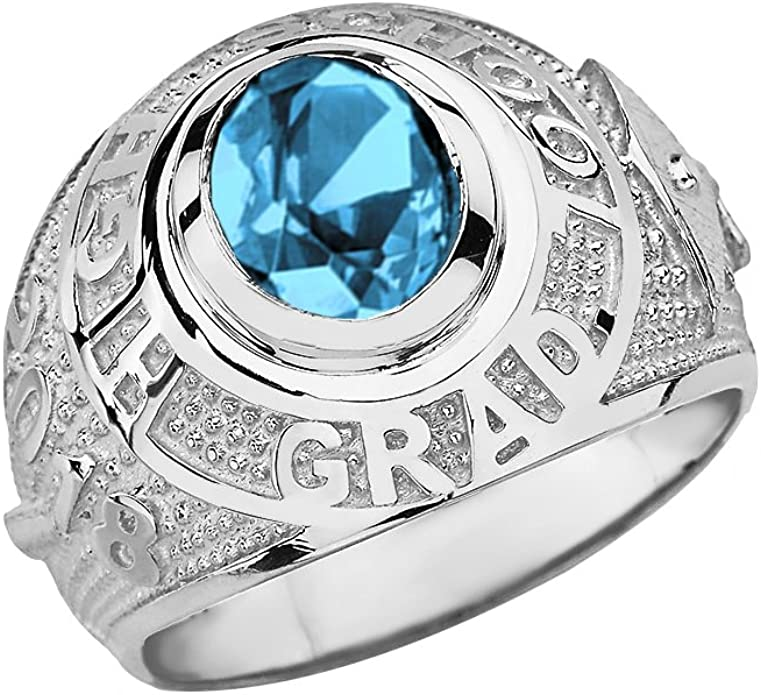 Details about  /10k or 14k White Gold June Simulated Birthstone 2021 Graduation Mens Class Ring