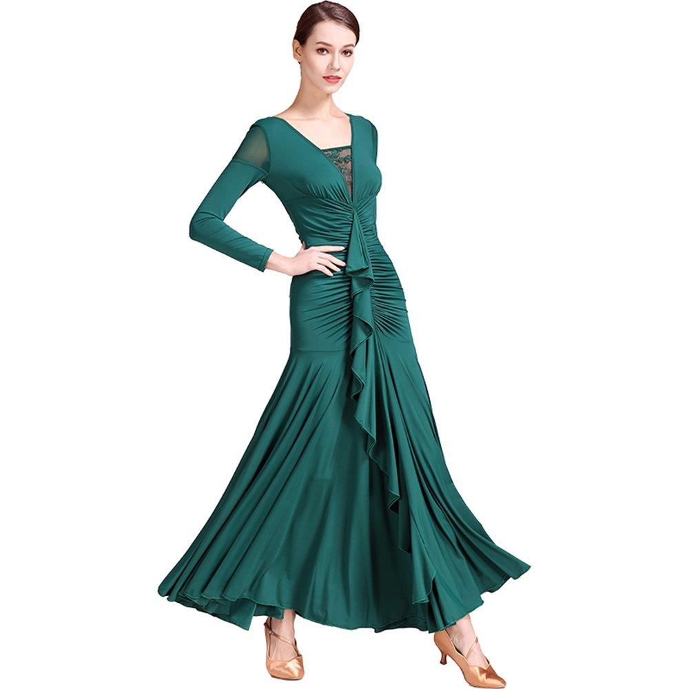 贅沢屋の 現代の女性大きな振り子ファッションレースモダンダンスドレスタンゴとワルツダンスドレスダンスコンペティションスカート氷フィラメント長袖ドレスダンスコスチューム B07HK8MZXP B07HK8MZXP Large|Green Large Green Green Large, カミタカラムラ:970d4504 --- a0267596.xsph.ru