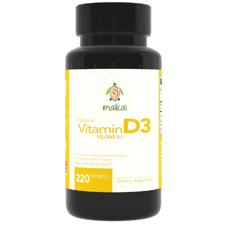 Vitamin D3 10,000 IU Softgels - Increased Immune Support, Healthy Muscle Function and Healthy Teeth & Bones (220 Softgels)