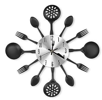 Actimn Reloj de Pared Cubiertos de Diseño Cocina Reloj de Pared Decorativo - Cubiertos silenciosos Reloj