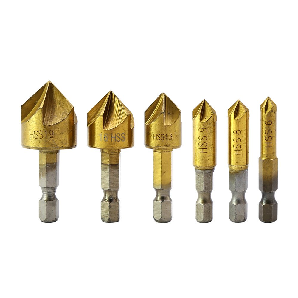 Minher 6 pcs 1//4 Hexagon shank HSS handle Countersunk drill hole 5 Flute Drill Set 90 degree for wood quick change bit 6mm-19mm H00820