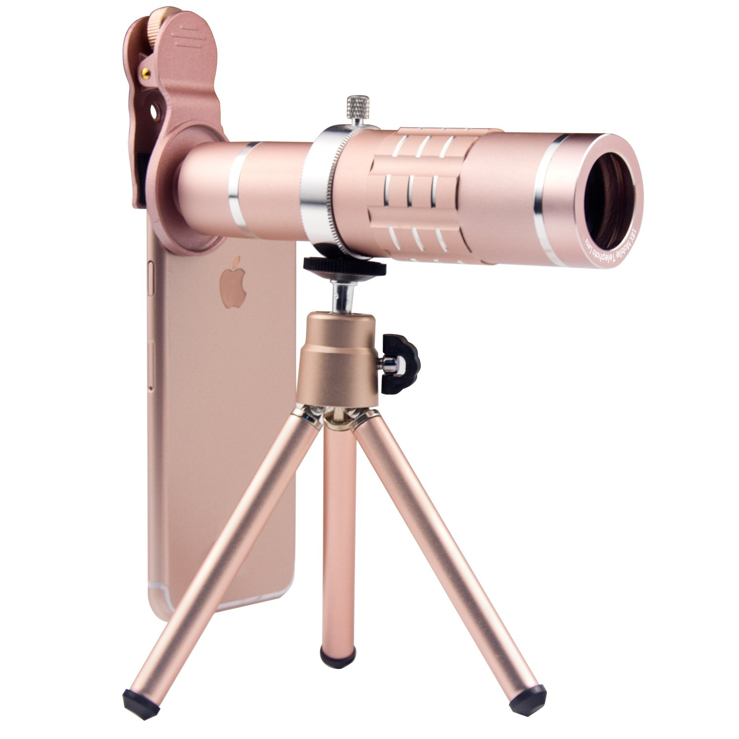 Finny Cell Phone Lens 18X Optical Telephoto Lens Kit with Flexible Tripod and Clip for iPhone Samsung Most Smartphones (Rose Gold)