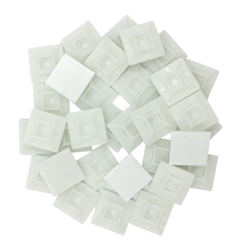 POPP Juego Soportes Adhesivos para Bridas de Cable/Clips Adhesivo para las brida de plastico/Base de montaje sujetacables autoadhesivos cables/Blanco Natur/100 Piezas (20X20mm)
