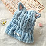 dry blower turbo - TENCHOE Hair Drying Cap Wrap Towel Ultra-soft Adjustable Cute Bath Hair Hat with Cat Ears Bath Towels Hair Towel Fast Drying Hair Wrap Quick Dry Hair Towel Super Absorbent Microfiber Shower Hat (Blue)