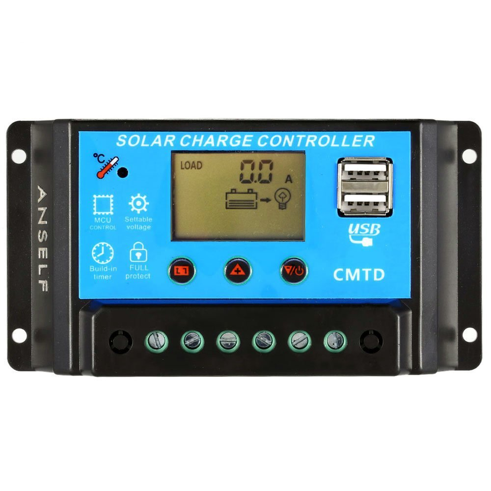 Anself 10A/20A 12V/24V LCD Solar Charge Controller Solar Panel Battery Lamp Auto Regulator Overload Protection with Current Display
