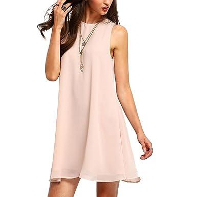 bcd9c51e707 SOLYHUX Femme Mini Robe sans Manches Col Rond Loose Rose XS  Amazon.fr   Vêtements et accessoires