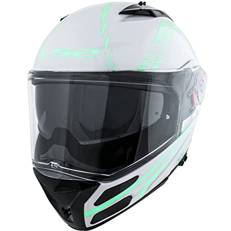 LS2 Helmets Metro Firefly Modular Motorcycle Helmet with Sunshield (White, X-Small)