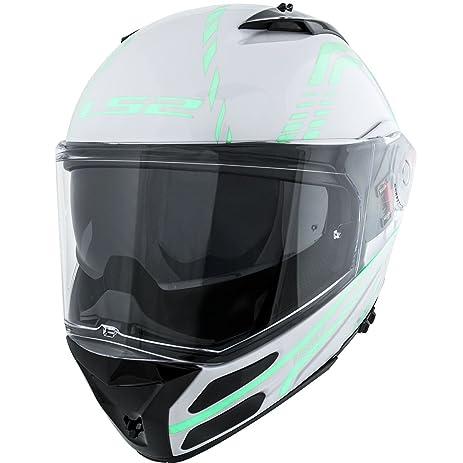 LS2 Helmets Metro Firefly Modular Motorcycle Helmet with Sunshield (White, X-Small)