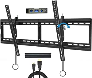 "JUSTSTONE Tilt TV Wall Mount Bracket for 40-90 Inches LED, Plasma Flat Screen Curved TVs, TV Mount with VESA 800x400mm, Fits 16"", 24"" Studs and Loading Capacity 165 lbs, Low Profile and Space Save"