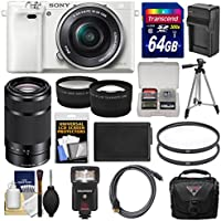 Sony Alpha A6000 Wi-Fi Digital Camera & 16-50mm Lens (White) with 55-210mm Lens + 64GB Card + Case + Flash + Battery/Charger + Tripod Kit Key Pieces Review Image