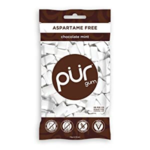 PUR 100% Xylitol Chewing Gum, Chocolate Mint - Sugar-Free + Aspartame Free, Vegan + non GMO, 55 Count (Pack of 1)