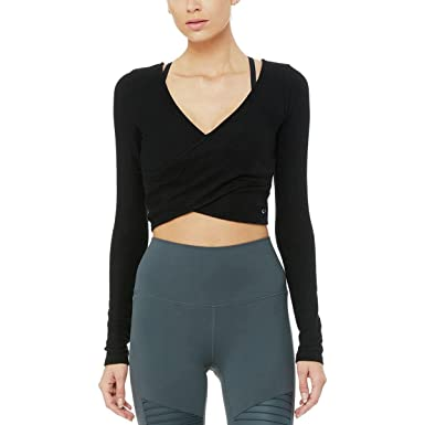 7927f3e28b41e Image Unavailable. Image not available for. Color  ALO Women s Amelia Luxe Long  Sleeve Crop ...