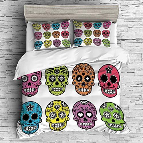 3 Pieces (1 Duvet Cover 2 Pillow Shams)/All Seasons/Home Comforter Bedding Sets Duvet Cover Sets for Adult Kids/King/Skull,Ornate Colorful Traditional Mexian Halloween Skull Icons Dead Humor Folk Art -