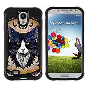 ZeTech Rugged Armor Protection Case Cover - Majestic Cat Illustration - Samsung Galaxy S4