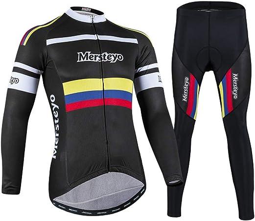 jersey Trajes De Ciclismo para Hombre Transpirable, De Secado Rápido, Cómodo, Manga Larga + Pantalones Ropa De Ciclismo Conjunto Ropa Deportiva para Montar En Bicicleta para Deporte Al Aire Libre M: Amazon.es: