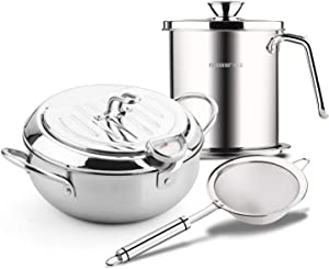 Stainless Steel Deep fryer small pot tempura frying pot with Temperature Control Tempura Fryer Pot PFOA free (9.8*6in 3.4Quart & 1.7L Filter pot with Filter spoon)