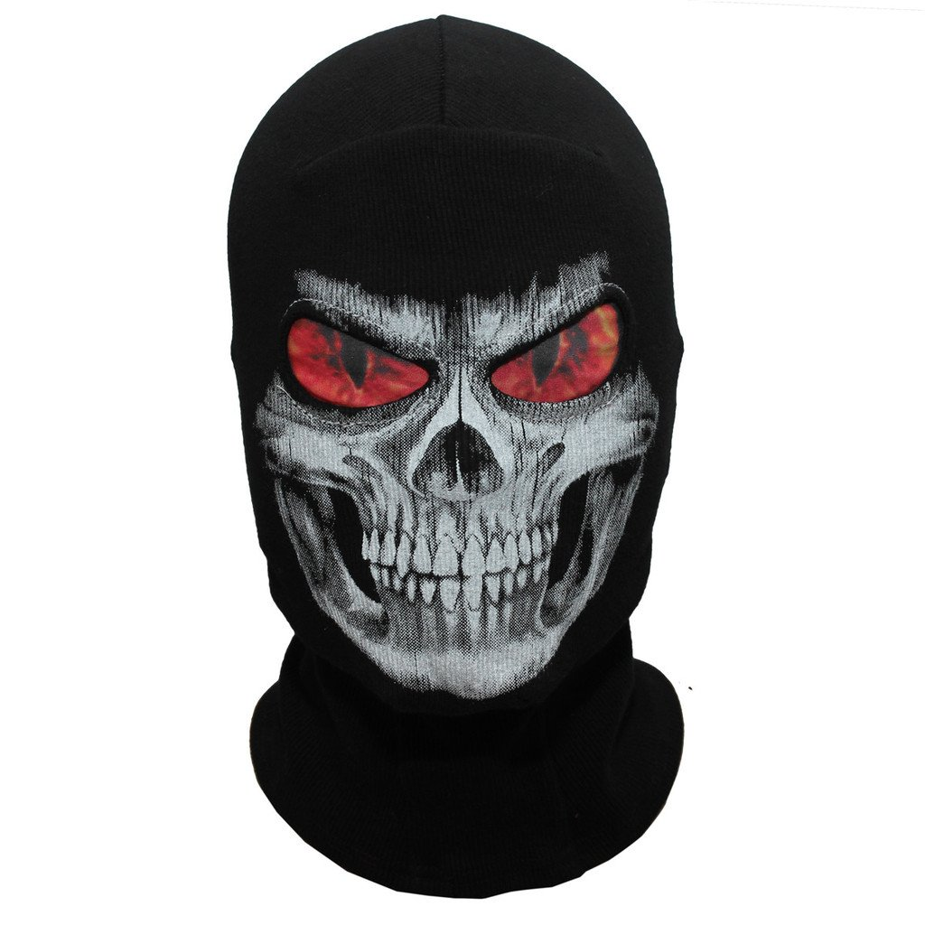 JIUSY Skeleton Skull Balaclava Ghost Death Neck Warmer Face Mask - Flame Eyes - Headwear Protection Motorcycle Cycling Skiing Snowboarding Cosplay Costume Halloween Party Winter/Summer Grim02
